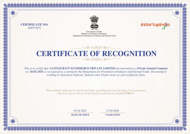 StartupIndia DPIIT Certified